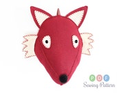 Large Plush PDF Foxy Fox Sewing Pattern, DIY Felt Faux Taxidermy, Stuffed Animal Head