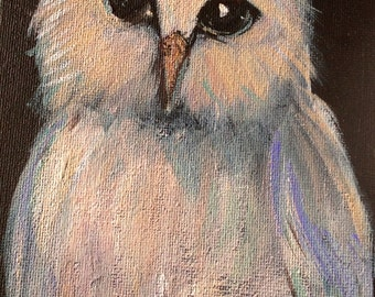 Owl Painting bird painting original art 7 x5""