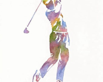 Golf Print, Sports Decor,  Golf Gift Men, Golf Decor, Father Gift,  Dad Gift, Golf Painting, Golf Wall Decor, Golf Watercolor, Golf Wall Art
