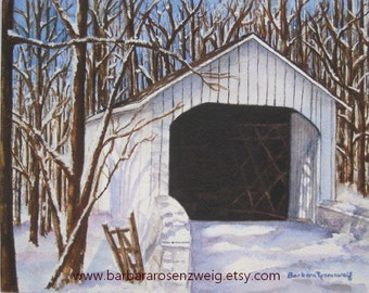 Covered Bridge Painting, Covered Bridge Print, Watercolor Covered Bridge, Winter Snow Art, Snow Painting, Covered Bridge, Historic Americana