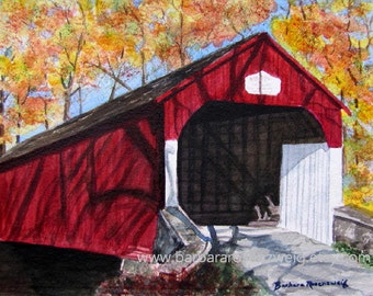 Red Covered Bridge Painting, Covered Bridge Art Print Americana Art, Watercolor Painting, Covered Bridge Home Decor Gift, Covered Bridge Art