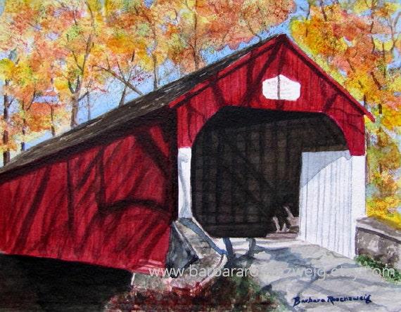 Red Covered Bridge Painting, Covered Bridge Art Print Americana Art, Watercolor Painting, Covered Bridge Home Decor Gift, Covered Bridge Art
