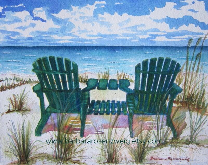 Beach Painting Beach Chair Art Print Beach Decor Beach Art