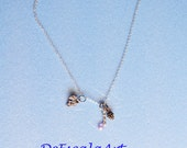 Silver tone Lariat, Pink Crystal, Leaf, Pinecone, Made in the U S A, HALF OFF S A L E Item No. De100
