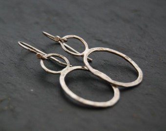 Hammered Silver Earrings, Hand Forged, Geometic Hoops, Modern, Dangle