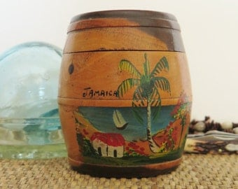 Antique Tobacco Barrel Jamaican Humidor Lignum Vitae Wood Coin Inset 1937 Brass Jamaica Farthing  Hand Painted Decoration