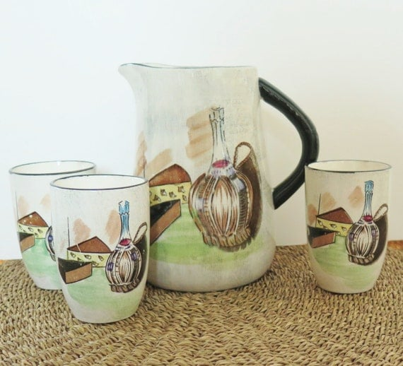 Vintage Capri Pitcher and 3 Cups Royal Sealy Japan  Mid Century Wine And Cheese