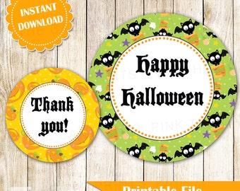 Halloween Label - Gift Favor Tag Pumpkin Bat Party Printable Instant Download