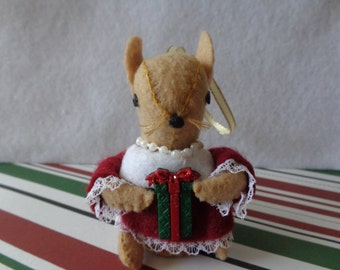 Mrs. Brown Mouse Christmas Ornament by Pepperland