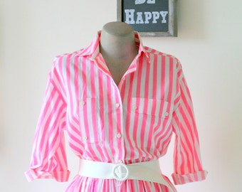 Vintage POSH STRIPES Dress.....size small to medium .....candy. carnival. mod. striped. pink dress. fushia. purple. sundress. posh. hot pink
