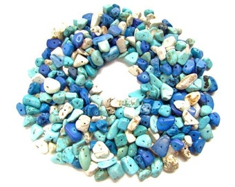 300 Blue and White Mix Howlite Chip Beads / Turquoise Howlite