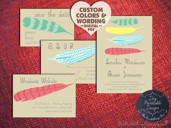 Bohemian PRINTABLE Boho Chic Save The Date Design Pdf Fine Feathers Rustic Diy Wedding Invitation Set Template Country Western Indian New