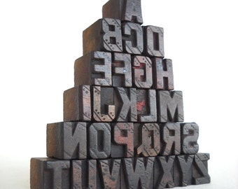 40% OFF - A to Z, 26 Vintage Letterpress Wooden Letters Collection - Mini Series - VM028