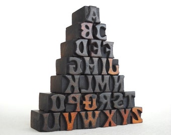 25% OFF - A to Z- 26 Mini Letterpress Vintage Wooden Alphabets - Mini Series - VM029