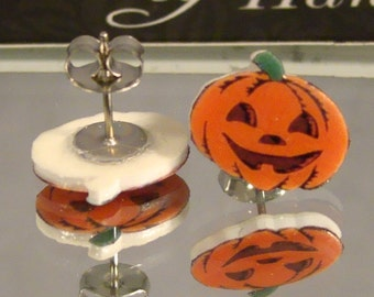 Halloween Jack O Lantern Stud Earrings - Costume jewerly