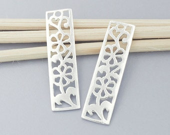 2 of 925 Sterling Silver Cut out Flower in  Rectangle Charms 7x26 mm. Polished finish :th2321