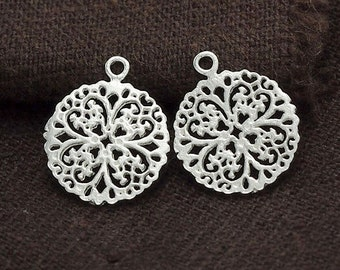 2 of 925 Sterling Silver Filigree Flower Charms 13 mm.Polished Finish :th2322