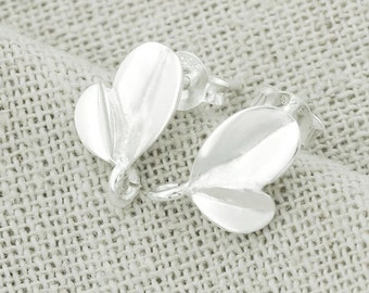 1 pair of 925 Sterling Silver Leaf Stud Earrings Post Findings 8x11mm. , Polish Finished :er0885