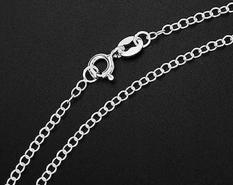 16 inches of 925 Sterling Silver Cable Chain Necklace 2x1.5 mm. Delicate Chain  :th2329-16