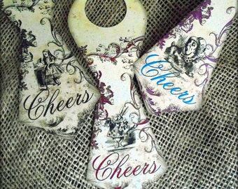 Set of 3 Alice in Wonderland Hanging Bottle Tie Decorations