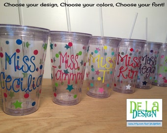 Quantity 14 Personalized w/name acrylic tumbler w/lid - polka dots, Available in skinny, standard, sport bottle, mason, kiddie cup & XL cup