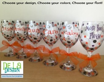 More Boo's Please, Extra large 20 oz, Personalized Halloween Wine glass, name and ghost design, Bachelorette or Halloween party, gift