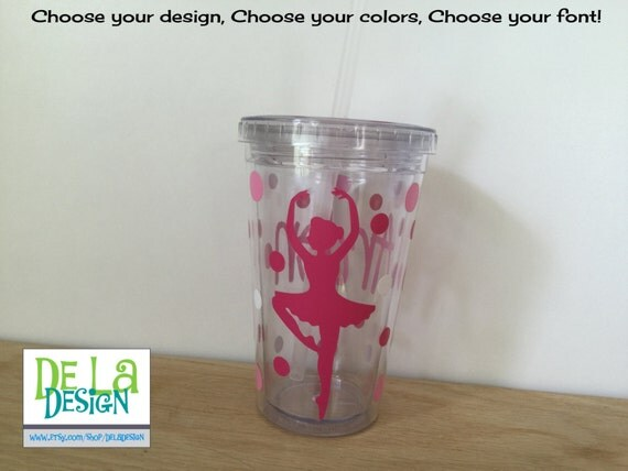 Dance, ballet, ballerina, Personalized w/name acrylic tumbler, Available in skinny, standard, sport bottle, mason, kiddie cup & XL cup
