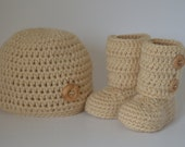 Crochet Baby Hat and Booties Set- baby shower gift