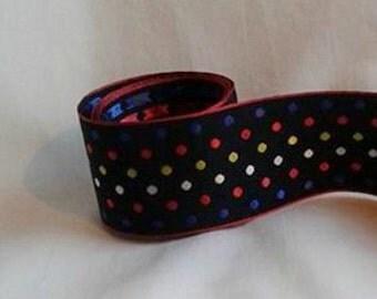 "Black with Polka Dots Ribbon...1 1/2"" X  12 Feet"