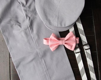 Cotton Ring Bearer Outfit; 4 Piece Set, Ring Bearer Bow Tie, Ring Bearer Suspenders, Newsboy Hat and Pants. Wedding Outfit for Ringbearer