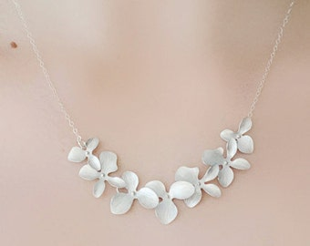Bridesmaid Silver Orchid Necklace