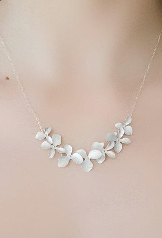 Bridesmaid Silver Orchid Necklace