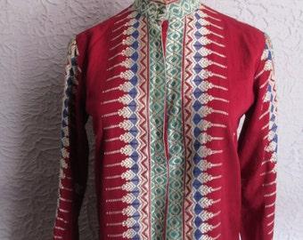 60's Vintage Hippie Nehru Embroidered Mini Dress small