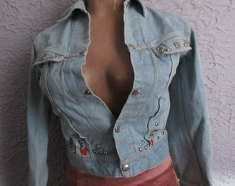 60's Vintage Billy the Kid Studded Denim Jean Jacket small