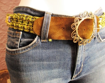 Vintage Hippie Macrame Brass Leather Handmade Belt med.