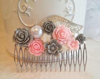 Gray Ivory Pink Flower Comb Pink Rose Hair comb Silver Leaf Comb Bridesmaid Hair accessory Bridal comb Bridesmaid Gift Vintage Style