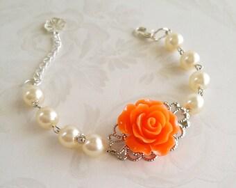 Orange Ivory Bracelet - Flower Bracelet  - Ivory Pearl Bracelet - Bridesmaid gift - Flower girl gift - rose bracelet - Flower Girl Bracelet