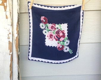 Pink and Navy Vintage Handkerchief • Vintage Hanky • Vintage Hankies • Hankies • Ladies Hankies