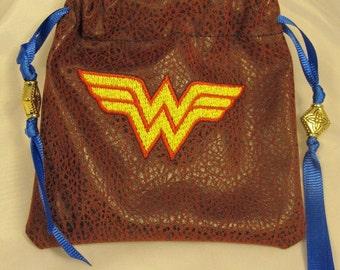 Wonder Woman Embroidered Dice Bag  Treasure Bag   Cosplay    RPG   Gamer Superhero