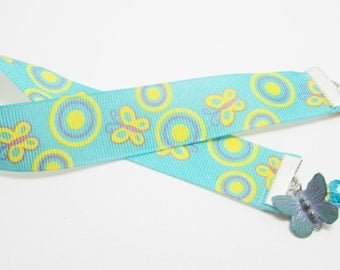 Butterfly Ribbon Bookmark Patina Butterfly and Park Bench Charms Aqua Blue Yellow and Purple Ribbon Crystal Rondelles