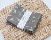Large ORGANIC Cloth Napkins - Set of 4 (N2618) - Gray Modern Reusable Fabric Napkins
