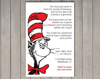 Dr. Seuss Baby Shower Invitation - personalized, featuring the Cat in the Hat, Thing 1 and Thing 2, Horton, New Fish