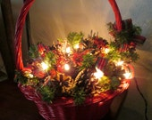 Vintage Wicker Basket With Christmas Lights