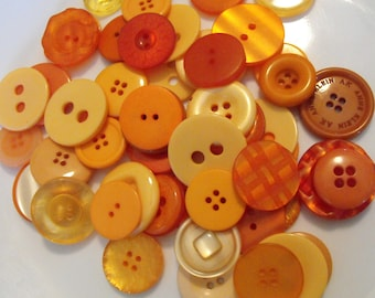 25 Pumpkin Orange Large Buttons Assorted Round Crafting Sewing Buttons