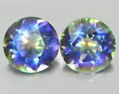 Pair of Clean Round Mystic blue quartz 9528