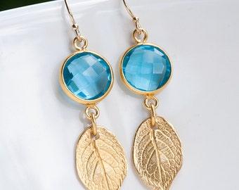 Blue Topaz Earrings - December Birthstone Earrings - Drop Earrings - Gold Leaf Earrings - Dangle Earrings - Rose Leaf Earrings
