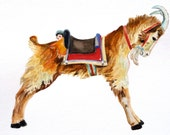 Original Watercolor Carousel Goat Carousel Animal Childs Room Decor