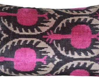 hot pink ikat tribal vintage velvet pillow