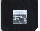 Black Canvas Tote Bag - Gift for Traveler- Gift For Paris Fan - Vintage Paris Photo Black Canvas Tote Bag