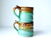 Pottery Coffee Mug, Pottery Tea Mug in Cerulean Green and Mocha Cream by RiverStone Pottery